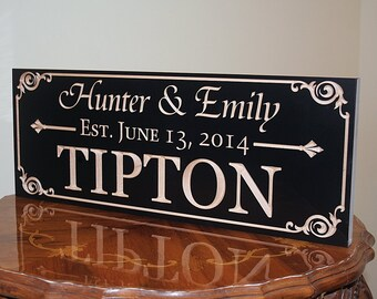 Family Name Sign, Wood Established Sign, Personalized Sign, Carved Wooden Sign, Engagement Date Sign, Benchmark Custom Signs, Maple  AA