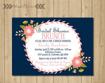 Bridal Shower Invitation | Shabby Chic Bridal | Shower Invite | Floral | Bridal Shower Brunch | Vintage | Navy and Coral | BRS18