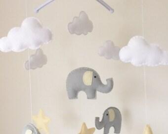 Elephants Clouds & Stars Musical Cot Mobile, Baby Mobile, Nursery Mobile, Elephant  Nursery, Nursery Decor, Elephant Theme, Grey Nursery Dec