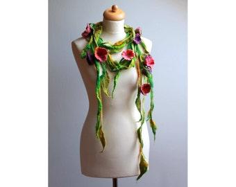 Felted Floral Scarf Necklace Violet Pink Flowers Floral Green Felted Lariat  Dread Spring Fashion Belt Headband Bloom Summer