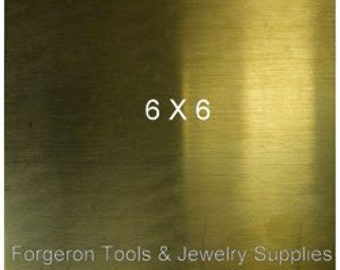 BRASS SHEET 24 Gauge 6 X 6 Inch - 1 Sheet Solid Brass For Etching, Jewelry Design, Stamping and More - BR6045
