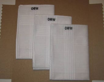 Monogrammed embroidered mens hankies, cotton hankerchiefs,personalized,groomsmen gifts pocket squares