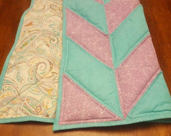Baby Crib Quilt - Turquoise and Purple Herringbone with Paisley Patterned Backing