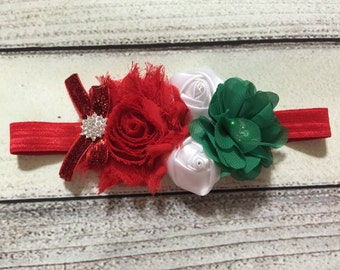 Christmas Headband Christmas Baby Headband Red Green White Flowers Headband Baby Headband Christmas Hair Bows Vintage Headband Holiday Bows