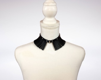 Leather Choker, Leather Fringes Choker, Choker, Black Choker, Leather Accessories, Fashion Choker, Ring Choker,  Genuine Leather Choker