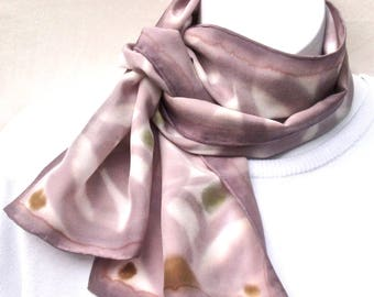 Hand painted silk scarf, taupe on white.  Small painted silk neck scarf.  Taupe, white, mustard and pale green silk scarf, handpainted.