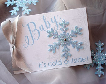 Baby It's Cold Outside Shower Invitation, Snowflake Baby Shower Invitation, Winter Baby Shower Invite Set, Blue and gray Baby Shower