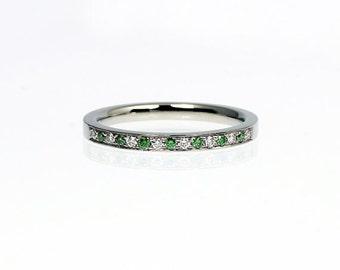 Green diamond ring, wedding band, platinum wedding ring, diamond wedding ring, half eternity, unique, green wedding, thin ring, platinum