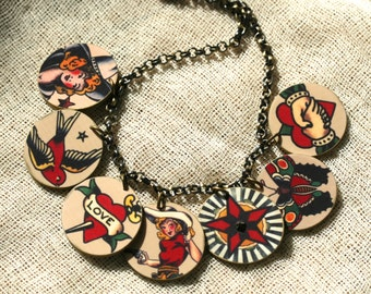 Tattoo Necklace - Vintage Tattoo Jewelry - Sailor Jerry Jewelry - Tattoo Jewelry - Shrink Plastic - Vintage Image - Rhinestone JEwelry