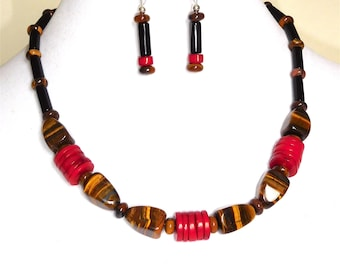 Tiger Eye with Red Coral Discs Necklace & Earrings Set (Item W67)