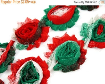"SALE 30% OFF 2.5"" PRINTED Shabby Rose Trim - Christmas Tie Dye  - Fall/Christmas - Hair Acessories Supplies"
