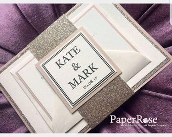 ROSE GOLD  Glitter & blush pink Personalised Wedding / Evening Invitations with / without RSVP