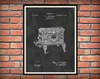 Patent 1902 Heating Stove - Art Print Design - Cast Iron Stove - Poster Print - Antique Decorative Wood Burning Stove