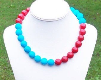 Color Block Necklace Blue and Red Necklace Aqua and Red Necklace Unique Necklace Chunky Gemstone Necklace 15mm Red Agate and Jade Necklace