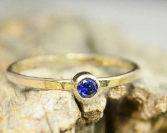 Classic Solid 14k Gold Sapphire Ring, 3mm gold solitaire, solitaire ring, real gold, September Birthstone, Mothers Ring, Solid gold band