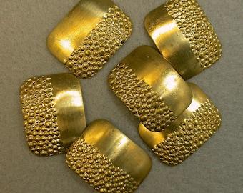VINTAGE Brass Stamping Rectangular New Old Stock Textured 24x18x1mm pkg6 m85