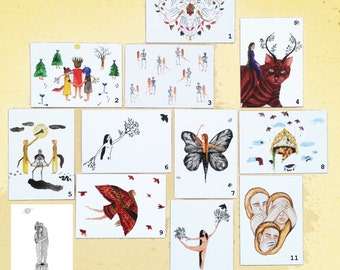 Package of 11 illustrated Postcards, Gift Cards, Illustration, Postcards, Paper Goods, Art Print, hand drawn