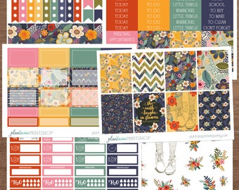 The Earth Laughs Kit, 6 to 8 pages, Sidebar, for use with Erin Condren Lifeplanner, Happy Planner, Full Box, Headers, Floral, Emerson