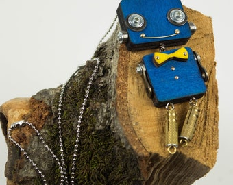 Blue robot pendant with bow tie