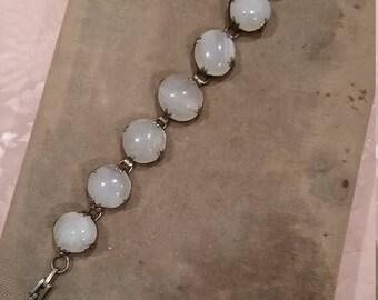 Edwardian Antique Moonstone Sterling Bracelet