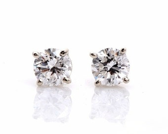 SALE - Diamond Stud earrings - Solitaires - 1.00 carat -14K White Gold - One time only
