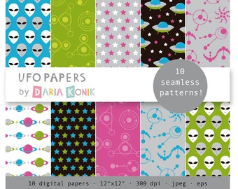 Ufo Papers Digital Paper Pack- Aliens, stars, planets, ufos, symbols, crop circles, eps, jpeg, instant download