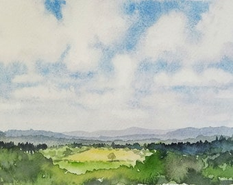 65/100 Watercolor Landscape | Original Watercolor | Watercolor Landscape | Painting | Landscape Painting