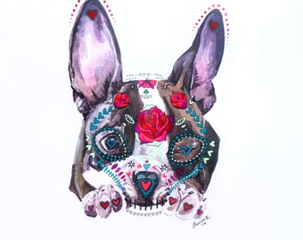 Sugar Skull Boston Terrier Puppy: Mixed media dia de los muertos