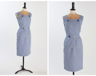 Vintage original 1950s 50s Spectator sports 2 pc check dress top and pencil skirt uK 6 8 US 2 4 XS