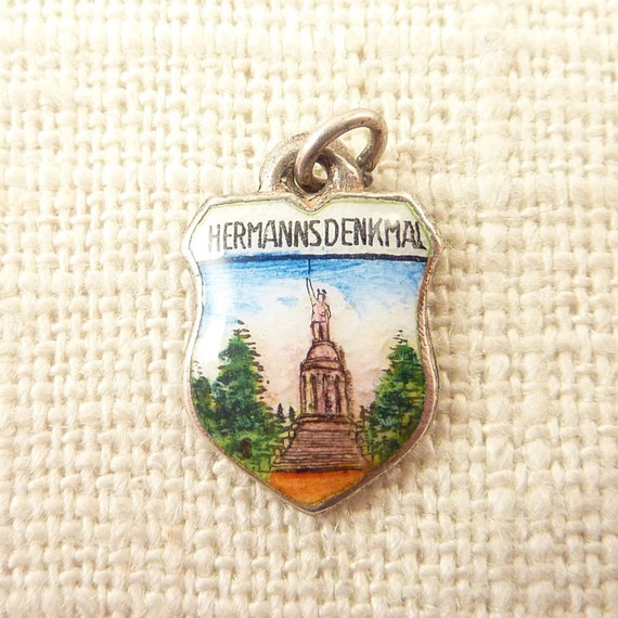 Vintage .800 Silver and Enamel Hermannsdenkmal Monument Shield Charm