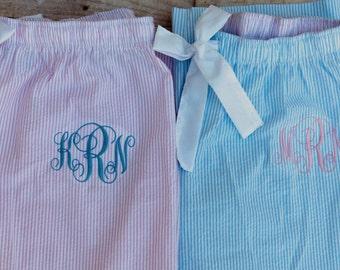Monogrammed  Pajama Pants Seersucker Personalized Preppy Blue Pink Navy PJ