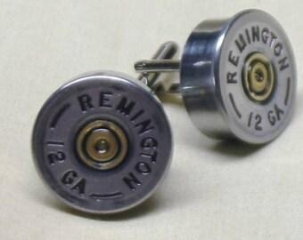 Shotgun Shell Cufflinks Remington 12 Gauge Nickel Best Man Wedding Cufflinks