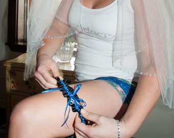 Thin Blue Line Wedding Garter in Royal Blue and Black Satin with Swarovski Crystal and Handcuff Charm - Ready to Ship