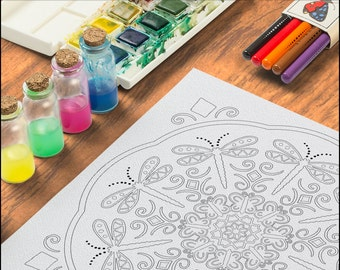 Dragonfly and Butterfly Coloring Page OrnaMENTALs #0006 PDF