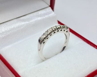 Antique Wedding Band l Platinum Diamond Ring l Stackable Ring l Anniversary Ring