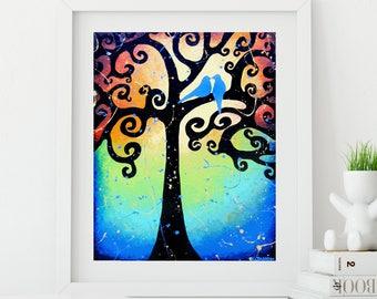 Love Birds Art Print Romantic Gift, Love Birds in Tree Wedding Gift, Bird Wall Decor, Gift for Couple, Bedroom Decor