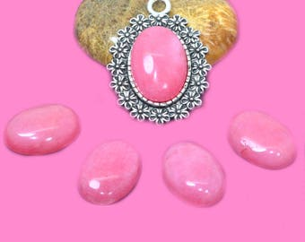 Pink dyed jade 13x18mm cabochon