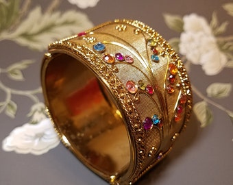 Vintage hinged rhinestone bracelet, Hinged bracelet,  Mesh bracelet, Gift for her