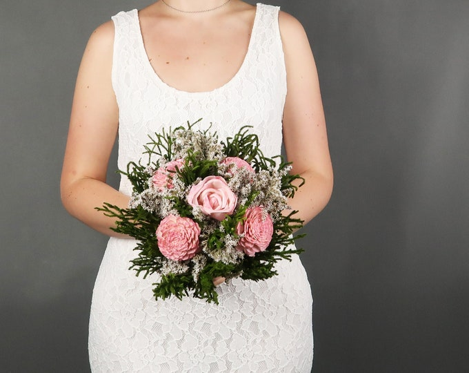 Small blush pink greenery woodland wedding BOUQUET dusty light pink green Sola Flower dried flowers cypress rose Burlap Lace