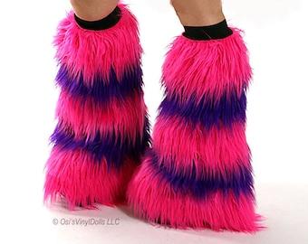 Fluffies Hot Pink Purple Cheshire Cat Costume Rave Furry Leg Warmers, Alice in Wonderland Costume, Beyond Wonderland