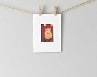 Asian Decor Small Art Print, Chinese Photography, Gold Foo Dog Miniature Art, Forbidden City China, Red Blue Fine Art Print, 5x7 Matted Art