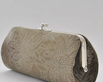 Floral Elements in Green Wood..Small Clutch Purse