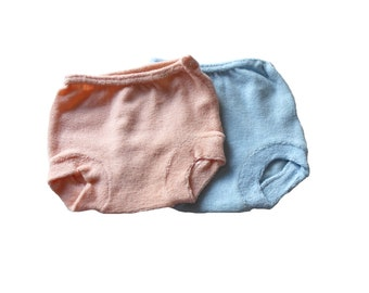 VINTAGE 70's / for babys / set of 2 panties / blue and pink terrycloth / new old stock  / size 0/3 months