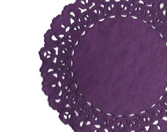 """PLUM PURPLE Paper Lace Doilies   4"""" 5"""" 6"""" 8"""" 10"""" 12"""" 14"""" 16"""" Sizes   Purple Colored Doilies, Plum Chargers, Plum Placemats"""
