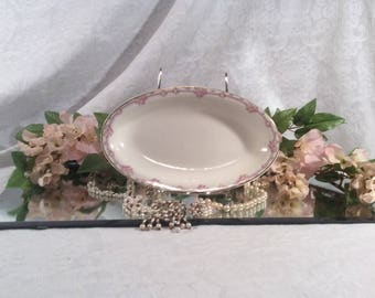 The Wellsville China Co, Wellsville, OH, Relish Dish, Pink Rose with Gold Trim