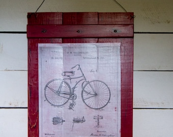 Bicycle Patent Print, Vintage Patent Print, Bicycle Wall Art, Rustic Decor, Red Sign, Red and White, Childrens Room, Playroom Art