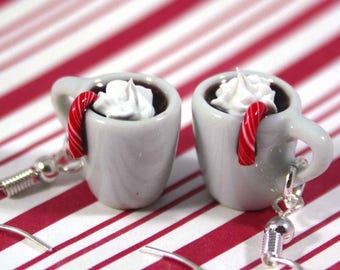 christmas earrings hot chocolate earrings kawaii polymer clay charms miniature food jewelry clay food earrings hot cocoa earrings