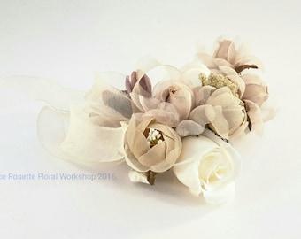 100% handmade silk flower wrist corsage