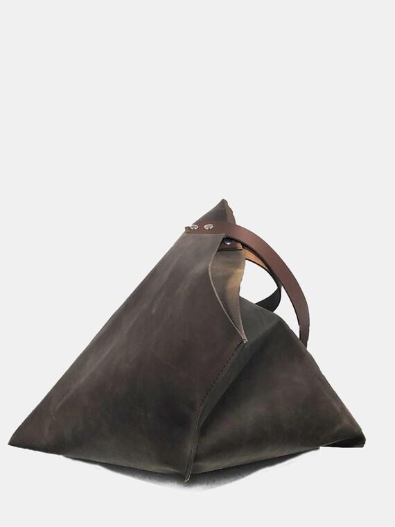 Brown Leather Handbag Large Handbag Brown Trapeze bag Gift for women