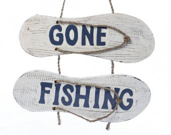 Gone FIshing Flip-Flop Sign